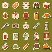 Flat Design Camping Icon Sticker Set