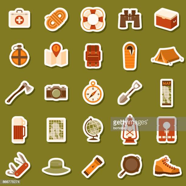 flat design camping icon sticker set - brown hat stock illustrations