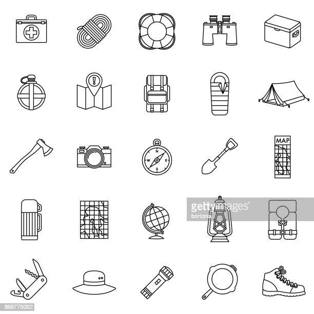 Flat Design Camping Thin Line Icon Set with Side Shadow