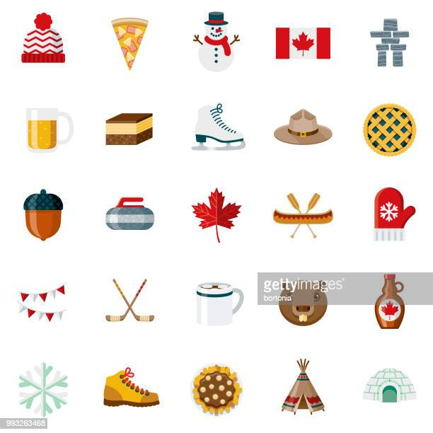 flat design canada icon set - traditionally canadian stock illustrations