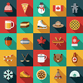 Flat Design Canada Icon Set with Side Shadow