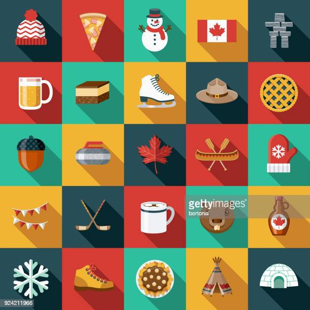 flat design canada icon set with side shadow - canadian culture stock illustrations