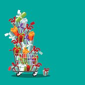 Flat design cartoon shopping cart stuffed with fun gifts