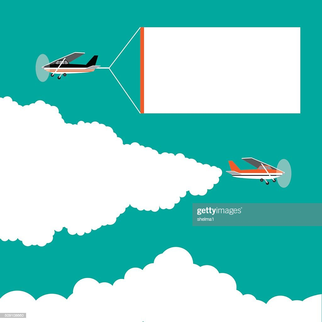 Flat design cartoon small airplanes pulling advertising banners