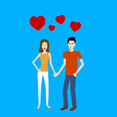 Flat design cartoon vector of two young lovers standing and holding hands with red heart signs on top.