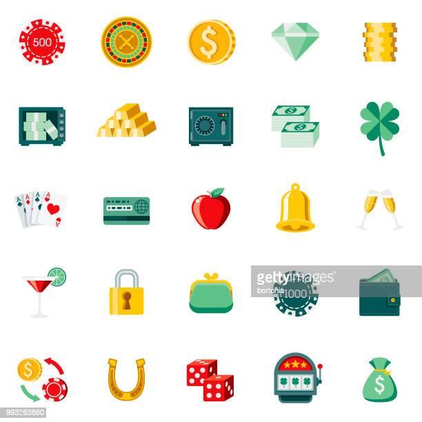 Flat Design Casino & Gambling Icon Set