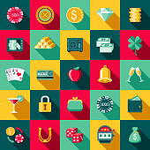 Flat Design Casino Icon Set with Side Shadow