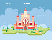 Flat Design Castle Cartoon Magic Fairytale Icon Landscape Background Template