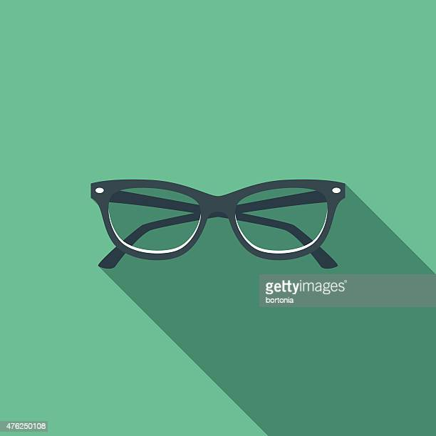 flat design cats eye glasses icon with long shadow - cat's eye glasses stock illustrations