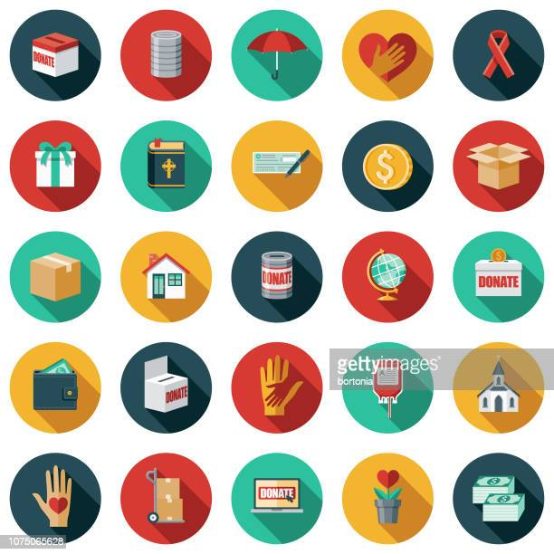 flat design charity & donation icon set - social issues stock illustrations