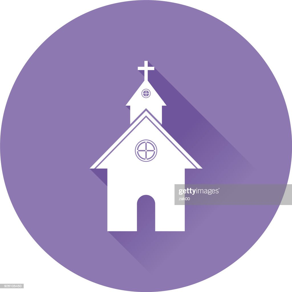 Flat Design Church Icon with Long Shadow : Stock Illustration