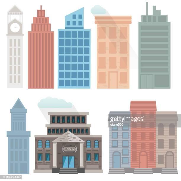 flat design city buildings - clock tower stock illustrations