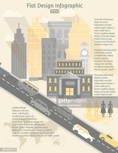 flat design cityscape infographic - bank financial building stock illustrations, clip art, cartoons, & icons