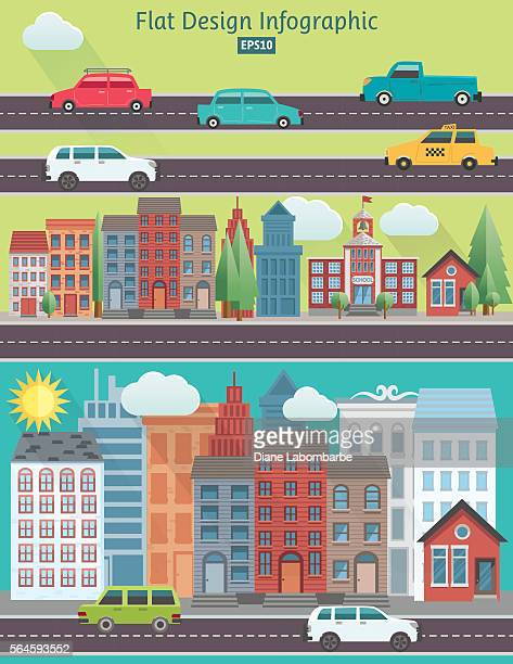 flat design cityscape infographic - house exterior stock illustrations, clip art, cartoons, & icons