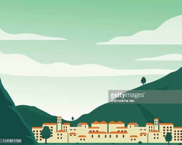 山のあるフラットなデザインの街並み - フラットデザイン 街点のイラスト素材/クリップアート素材/マンガ素材/アイコン素材