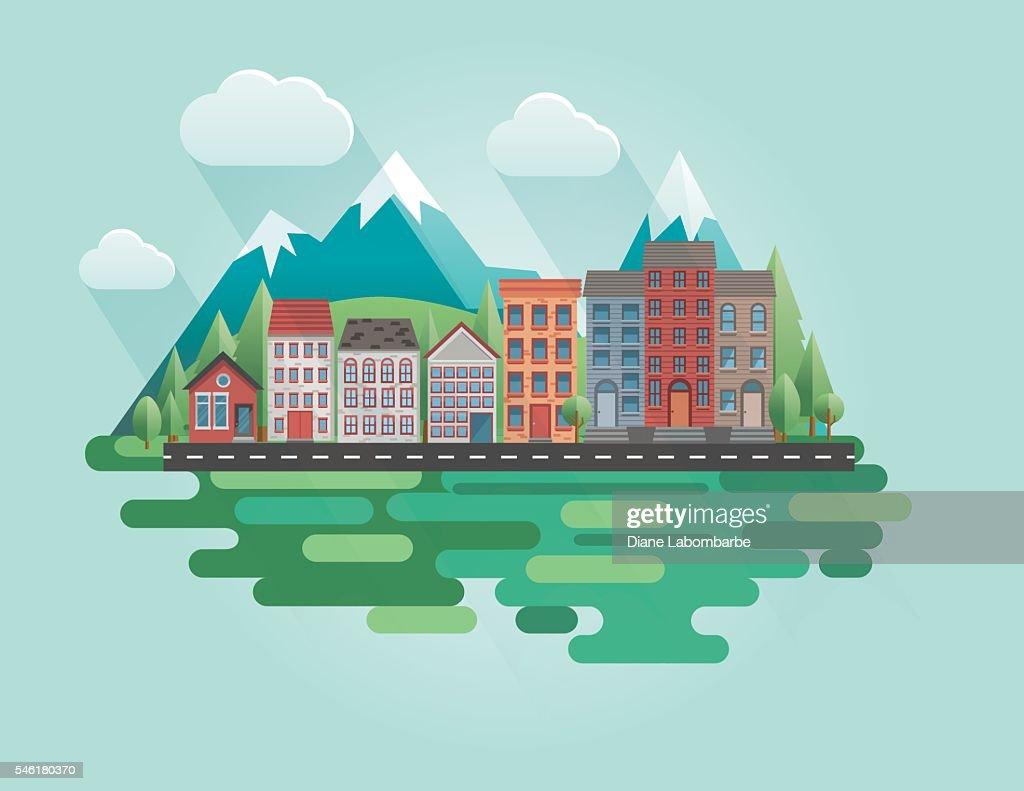 Flat Design Cityscape with Mountains : Ilustración de stock