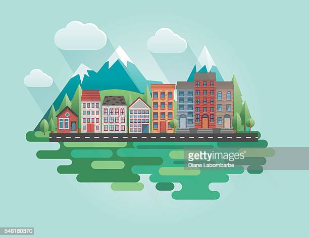 flat design cityscape with mountains - flach stock-grafiken, -clipart, -cartoons und -symbole