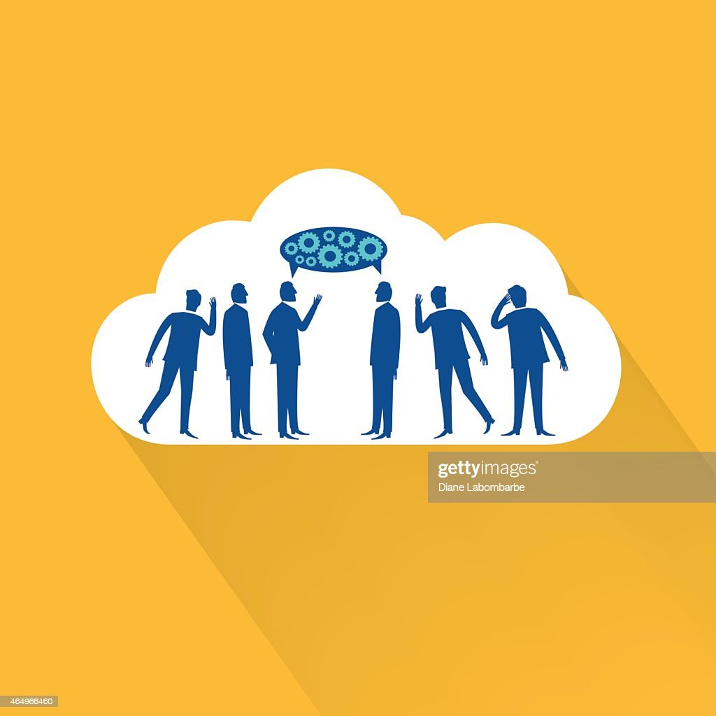 Flat Design Cloud Icon With Businessmen Talking Eavesdropping