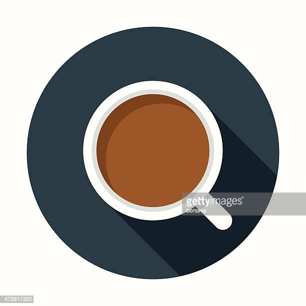 Flat Design Coffee Cup Icon With Long Shadow