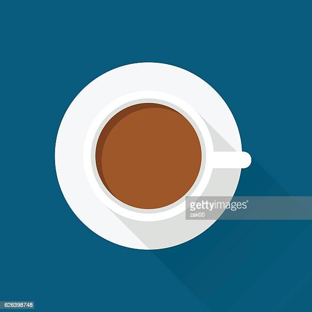 flat design coffee cup icon with long shadow - hot drink stock illustrations, clip art, cartoons, & icons