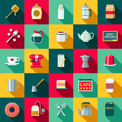 Flat Design Coffee & Tea Icon Set with Side Shadow - gettyimageskorea