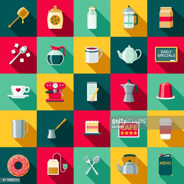 Flat Design Coffee & Tea Icon Set with Side Shadow