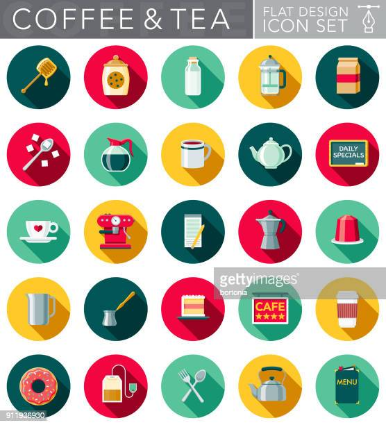 flat design coffee & tea icon set with side shadow - sugar cube stock illustrations, clip art, cartoons, & icons