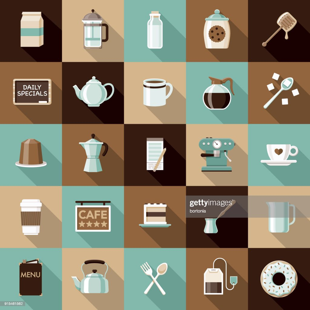 Flat Design Coffee & Tea Icon Set with Side Shadow : stock illustration