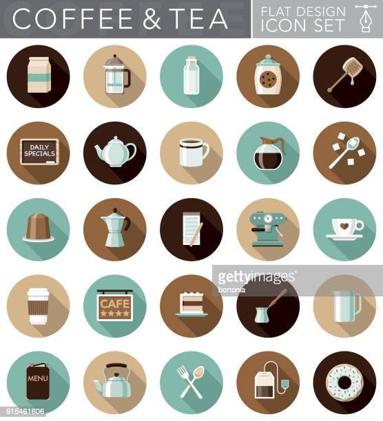 Flat Design Coffee & Tea Icon Set with Side Shadow