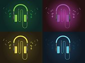 Flat Design colorful  Headphones in four style with music icon and colorful background