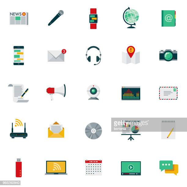 flat design communications icon set - microphone transmission stock illustrations