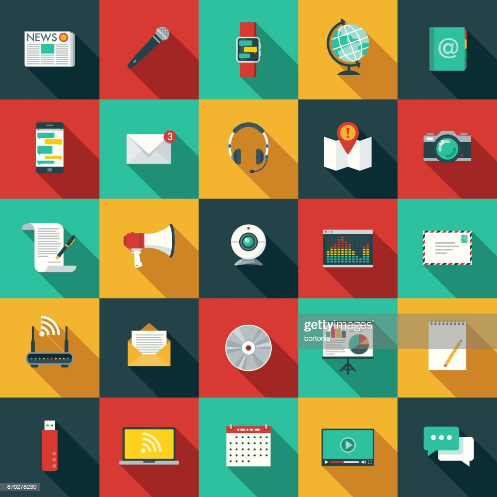 Flat Design Communications Icon Set with Side Shadow : stock illustration
