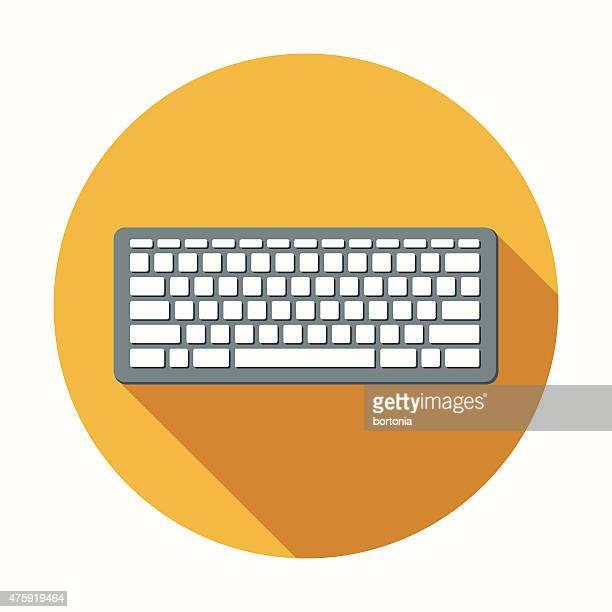Clavier d'ordinateur icône Design plat avec longues ombres