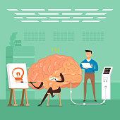 Flat design concept businessman training brain in labs. Vector illustrate.