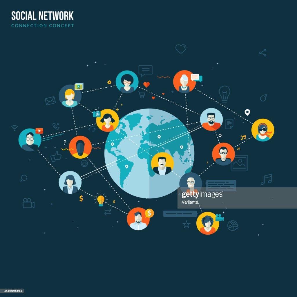 Flat design concept for social network