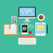 Flat Design Concept Internet and E-Learning Icons Vectors