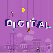 "Flat design concept small people working typography word ""DIGITAL"". Vector illustrate."