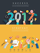 Flat design concepts for business analysis and planning new year