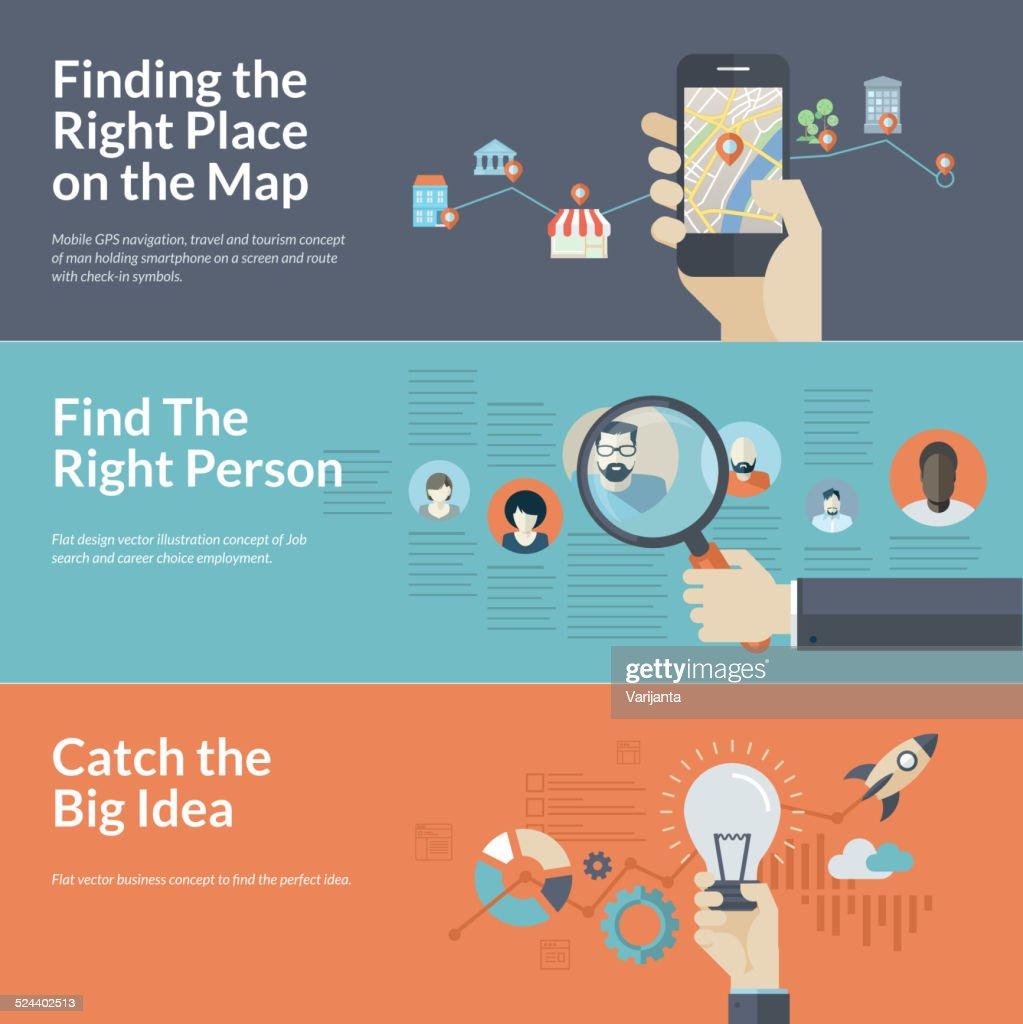 Flat design concepts for mobile GPS navigation, career, and business