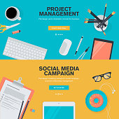 Flat design concepts for project management and social media campaign