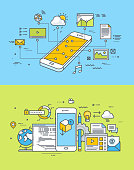 Flat design concepts of mobile site and app design