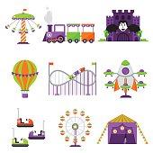 Flat design conceptual city elements with carousels amusement park vector