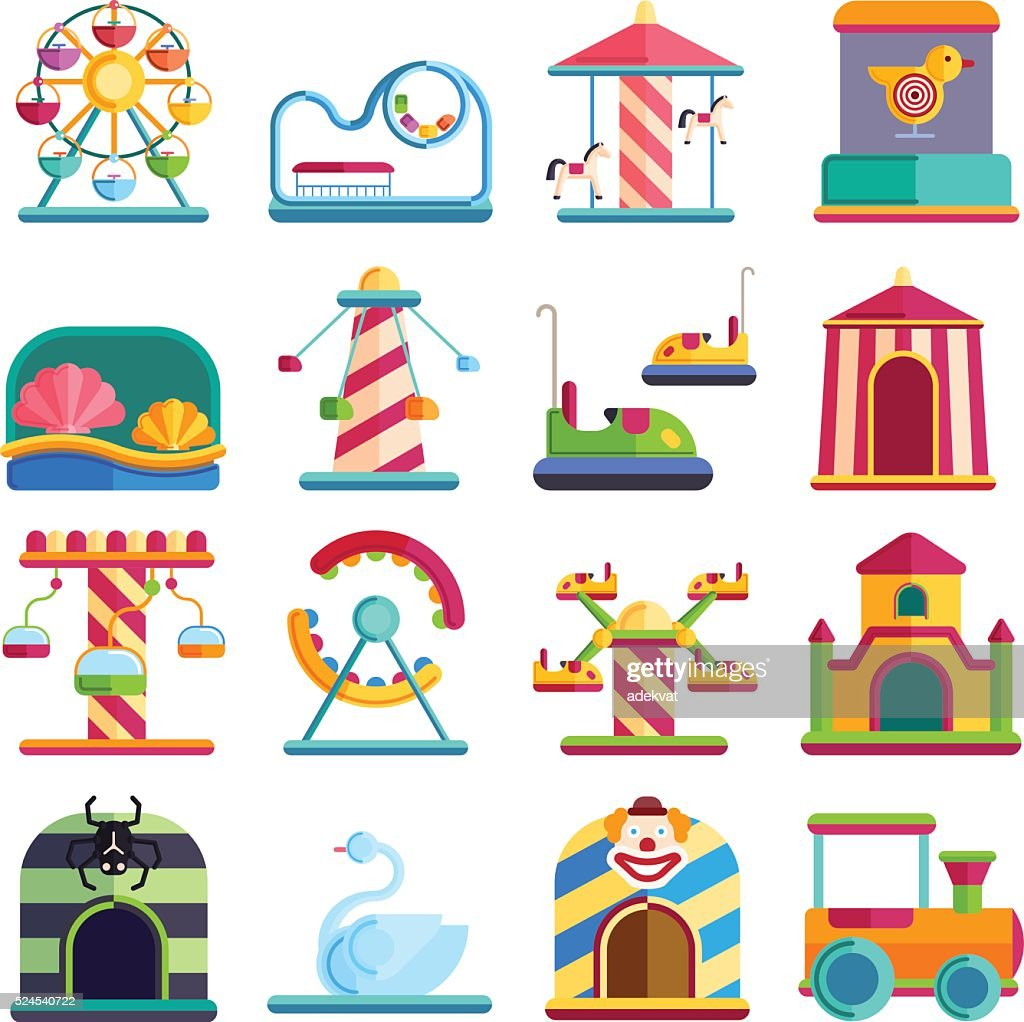Flat design conceptual city elements with carousels amusement park vector