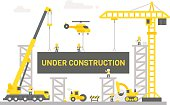 Flat design construction site sign