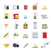Flat Design Cooking and Kitchen Vector Icon Collection