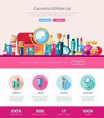 Flat design cosmetics, make up iheader banner with webdesign elements