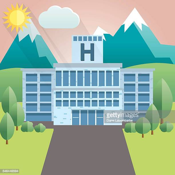 Flat Design Country Hospital with Mountains