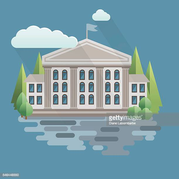 flat design courthouse or government building - courthouse stock illustrations, clip art, cartoons, & icons