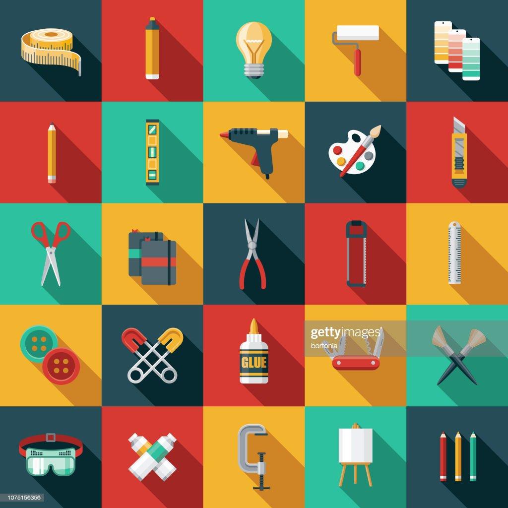 Flat Design Craft Supplies Icon Set : Stock Illustration