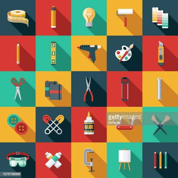 flat design craft supplies icon set - work tool stock illustrations